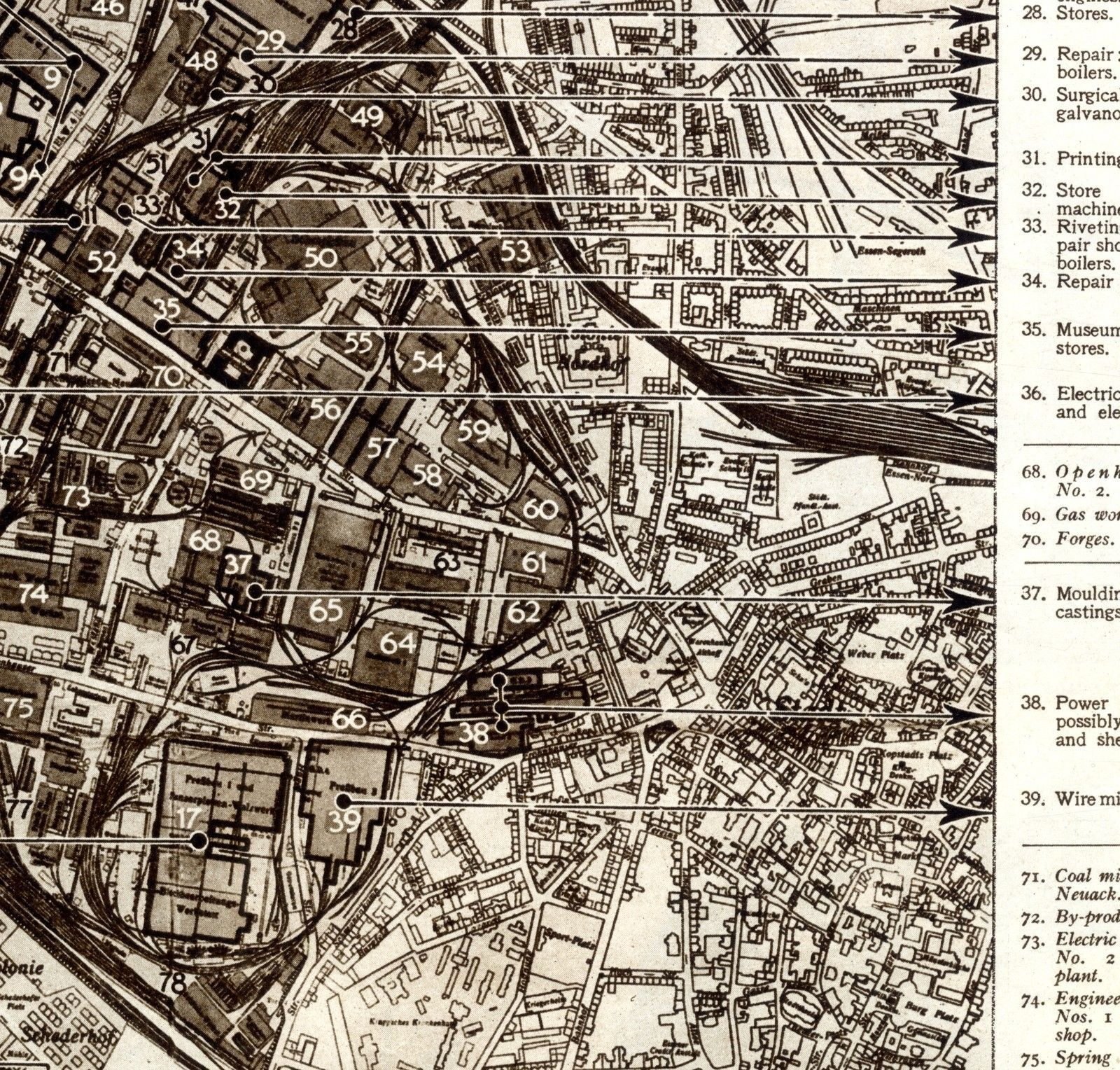 Map Of Germany Essen.1943 Map Plan Krupps Essen Works Armaments Factory Germany Ww2 Print